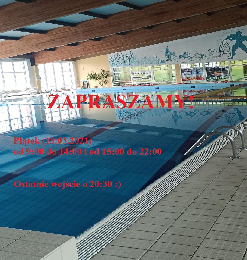 W piątek pływalnia czynna od 9.00 przed ponownym zamknięciem z przerwą między godz. 14.00 a 15.00. Zapraszamy !!!